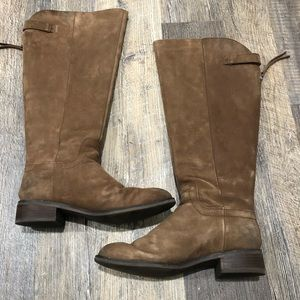 Franco Sarto Tan Leather Riding Boots Zip Back